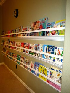 raingutter bookshelf with crown molding... just what I'm looking for! Playroom, homeschool, and daycare rooms!