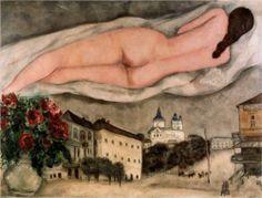 Nude over Vitebsk (1933) ~ Marc Chagall