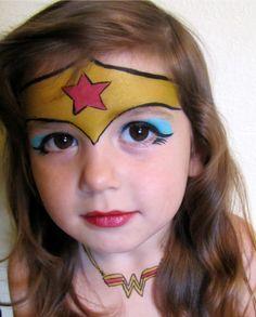 Easy Wonder Woman facepaint costume for halloween