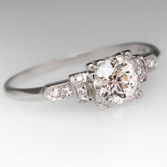 Antique Old Euro Diamond 1930's Platinum Ring