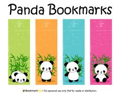 Free printable panda bookmarks. Download the PDF template at http://bookmarkbee.com/bookmark/panda/