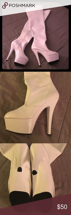 Patent Leather thigh high boots White Patent Leather Thigh High Boots with approx. 6 inch heel and 2 inch platform. Full zip  and small v shaped stretch panel on the inside of leg for comfortable fit. Brand new with no signs of wear. Ships in original box. pleaser  Shoes Heeled Boots