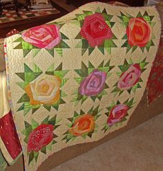 Kim's Big Quilting Adventure: Search results for Jersey Rose - Applique . . . the Fast Way! I finished quilting Jersey Rose today and even got it bound.  Want to see it?