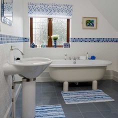 white and blue wall tiles for modern bathroom wall design