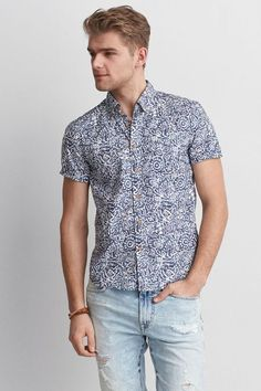 659f27864b4 AEO Print Short Sleeve Shirt