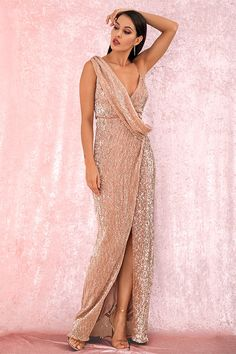 Buy Fleepmart Sexy Rose Gold Deep V-Neck Whit Split Sequins Party Maxi Dress at fleepmart.com! Free shipping to 185 countries. 45 days money back guarantee.