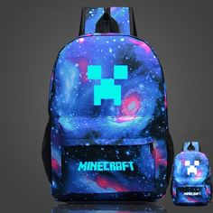 Minecraft Glow In The Dark Blue luminated Schoolbag Backpack Minecraft Lunch Bag