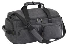 Canvas duffle by Lewis N. Clark. Large open main compartment as well as 4 exterior zip pockets, 2 in the front and 1 on each end. Removable, adjustable wide nylon shoulder strap and double carry handles as well. $69.95