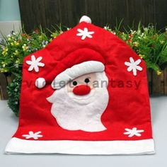 Christmas Santa Claus Chair Back Cover Elk Snowman Hat Dinner Table Party Decor