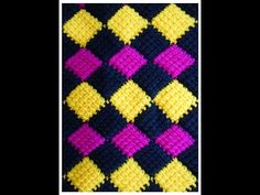 Crochet Entrelac Stitch Blanket. Let's see how to create the blanket and the border to even out the sides!