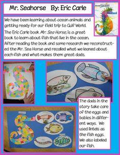Craft based on Mr Seahorse by Eric Carle Sea Activities, Kindergarten Activities, Writing Activities, Writing Jobs, Holiday Activities, Preschool Ideas, Seahorse Crafts, Ocean Crafts, Eric Carle