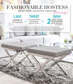 Fashionable Hostess Giveaway with INSPIRE IQ - Win two free benches!!
