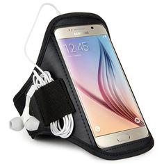 Sumaclife Brushed Workout Sports Armband Case for Samsung Galaxy S6 / S6 Edge with Fully Adjustable and Easy Earphone Connection (black - Neoprene). Soft-touch neoprene case hold your Samsung Galaxy S6 securely. Dual arm size slots allow maximum adjustability. Easily slide product safely into case. Adjustable Velcro strap to fit all arm sizes. Wrap up excess headphone cord conveniently.