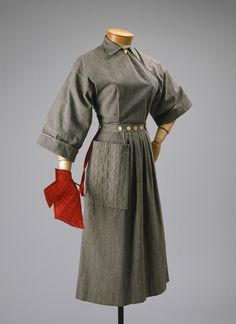 """Claire McCardell: Popover dress, 1942 The Metropolitan Museum of Art McCardell's Popover dress sold in the thousands… """"Norman Norell once told me that Claire could take five dollars worth of common cotton calico and make a dress a smart woman could wear anywhere."""" (Sally Kirkland, All-American: A Sportswear Tradition)"""