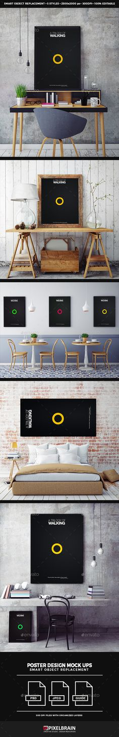 Posters Mock-up PSD Design  Template • Only available here ➝ http://graphicriver.net/item/posters-mockup-design/16700065?ref=pxcr