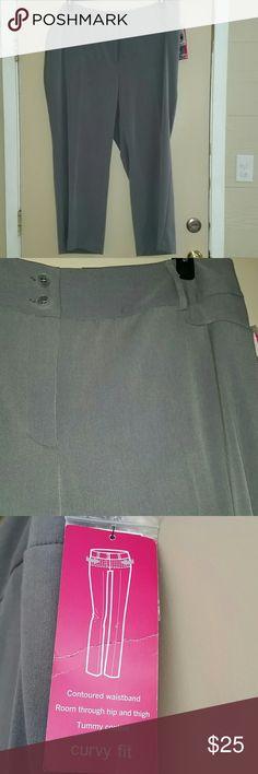 22W petite curvy fit grey slacks tummy control Alfani woman plus size curvy fit pant. 22wp contoured waistband, room through hips and thighs. Tummy control, grey slacks. Alfani Pants Straight Leg