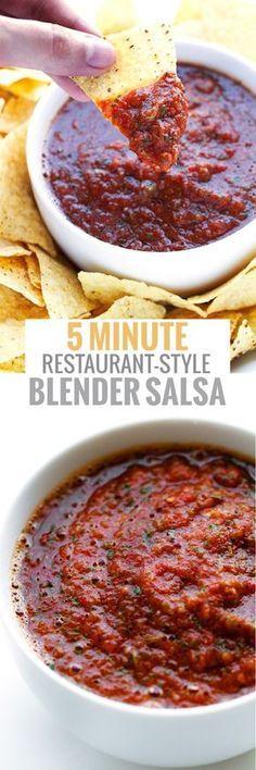 5 Minute Restuarant-Style Blender Salsa - Look no further this is the BEST salsa recipe ever! #restaurantstylesalsa #salsa #blendersalsa #mexicanfood | Littlespicejar.com