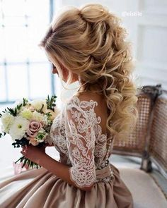 Wedding Hair Down Chariming A-line Half Long Sleeves Champagne Wedding Dresses Bridal Gowns · dressydances · Online Store Powered by Storenvy Wedding Hairstyles For Long Hair, Bride Hairstyles, Down Hairstyles, Hairstyle Ideas, Curled Updo Hairstyles, Country Wedding Hairstyles, Graduation Hairstyles, Gorgeous Hairstyles, Style Hairstyle