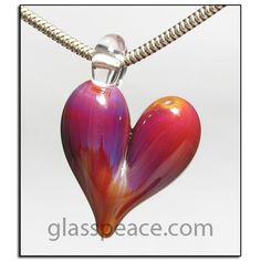 Glass Jewelry heart pendant Valentine Jewelry by Glass Peace