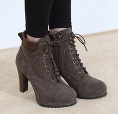 Korea purchasing shoes Korea womens waterproof boots with side zipper thick with super high heel short boots Brown