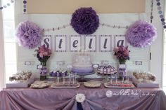 purple and white theme 1st birthday party | Pinterest Stella's 1st Birthday Party0002