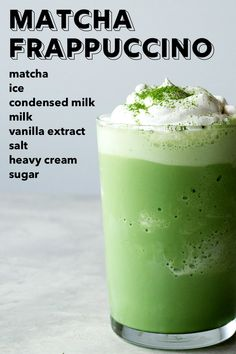 Matcha Frappuccino , This delicious green drink is great for a St. With condensed milk and heavy cream, this is a rich, amazing matcha filled Frappuccino. Coffee Drink Recipes, Starbucks Recipes, Starbucks Matcha Frappuccino Recipe, Green Tea Frappucino Recipe, Starbucks Drinks, Smoothies, Smoothie Drinks, Yummy Drinks, Healthy Drinks