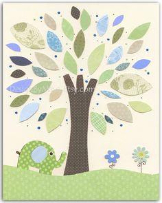 Baby boy, Nursery wall art Decor, Children Art..Tree. light blue light green match the colors of Eli elephant. $17.00, via Etsy.
