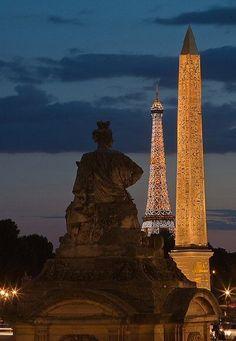 The Eiffel Tower across the Seine viewed from the Place de la Concorde, Paris