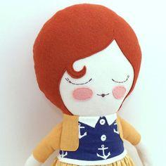 Alice 18 cloth doll rag doll customizable blue by piggyhatespanda, $54.00