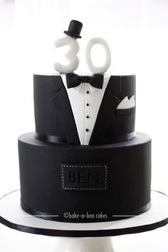 Black Tuxedo Cake 40th Birthday Cakes30th