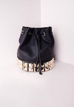 Missguided - Oversized Studs Drawstring Bag Black