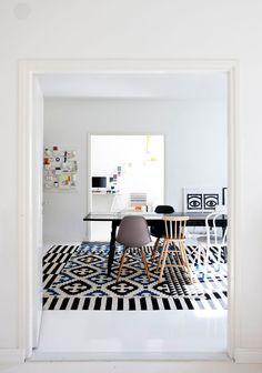 white dining space nordic mix of chairs DSW Eames chair SLATE