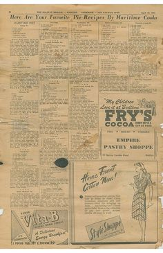 Nova Scotia Archives - 'An East Coast Port' Here are your favorite pie recipes by Martime Cooks Retro Recipes, Old Recipes, Vintage Recipes, Cookbook Recipes, Cooking Recipes, What's Cooking, Unique Recipes, Wartime Recipes, Empire Cookie