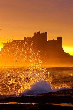 Surf on the Rocks at Sunrise - Bamburgh Beach, Northumberland, England Beautiful Sunset, Beautiful World, Beautiful Places, Belleza Natural, Nocturne, Mellow Yellow, Photos Du, Landscape Photography, Ocean Photography