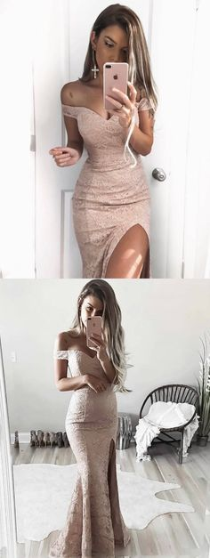 pink long bridesmaid dress evening dress, off the shoulder pink lace mermaid long bridesmaid dress with slit