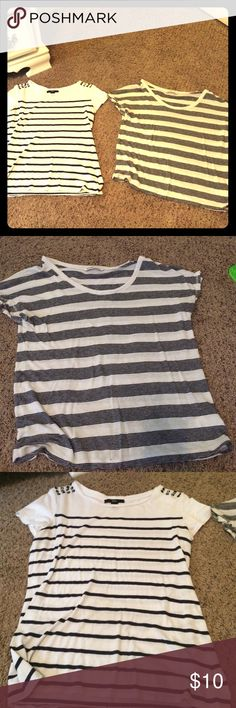 Crop top striped T-shirts. Cotton. These are both small crop top cotton T-shirts. Very cute and only slightly worn. Don't fit into anymore. Sold together for $10! Tops Crop Tops