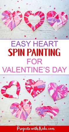 Spin painting hearts make the perfect Valentine's Day art project for kids. An awesome process art project for kids of all ages! #valentinesday #preschool #artprojectsforkids