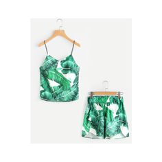 SheIn(sheinside) Palm Leaf Print Zip Slit Cami Top With Dolphin Shorts ($17) ❤ liked on Polyvore featuring tops, green, sexy two piece, sleeveless tops, green tank, white cami and white camisole