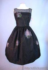 Vintage 60s Full Skirt Dress Black with Flowers