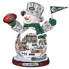 New York Jets Masterpiece Edition Crystal Snowman Figurine