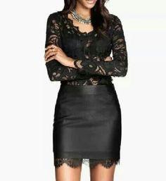 Falda y blusa de encaje