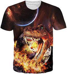 f36ab4705 Amazon.com  NEWISTAR UNIFACO Mens Unisex 3D Galaxy Dinosaur Short Sleeve T-Shirt  Tees S  Clothing