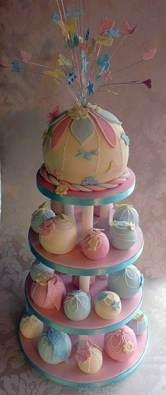 Pretty christening bauble cake with minis