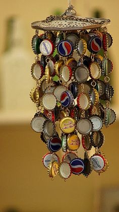 diy bottle cap wind chime- would be cute in an outdoor bar area