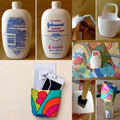 Homemade phone charger basket- recycle body wash bottle