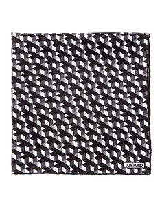 TOM FORD Geo-Print Silk Pocket Square, Black. #tomford #