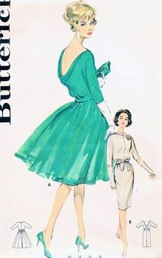 1960 Cocktail Evening Dress Pattern Butterick 9924 Eye Catching Low Cowl Back Full Skirt or Slim Sheath Bust 32 Vintage Sewing Pattern