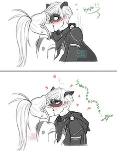 Cat Noir swoons over Ladybug's kiss from Miraculous Ladybug and Cat Noir