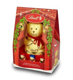 Lindt Bear Family Christmas chocolate gift by Lindt.  A cute Christmas chocolate gift from Lindt. The popular 200g Lindt bear with 3 double milk filled baby bears. An ideal Christmas gift for the children.