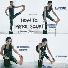 ... Something to look into.. ‍ #Repost @jasmine_yoga ・・・ #JasmineYogaTutorial : #pistolsquat  This is a 'cheating' way to help you feel the muscles involved in a pistol squat. You will eventually get the hang on it and be able to go down without leaning forward. I found this to be very useful because it trains me to work my thigh without having to worry about balance as much. Wth the help of a block, you can also practice moving without lifting your bottom heel up. This will r...